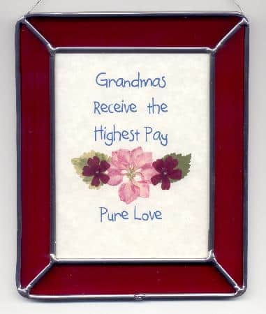 Saying about grandma framed in stained glass