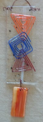 suncatcher using recycled glass and scrap  			glass; made in Nebraska USA