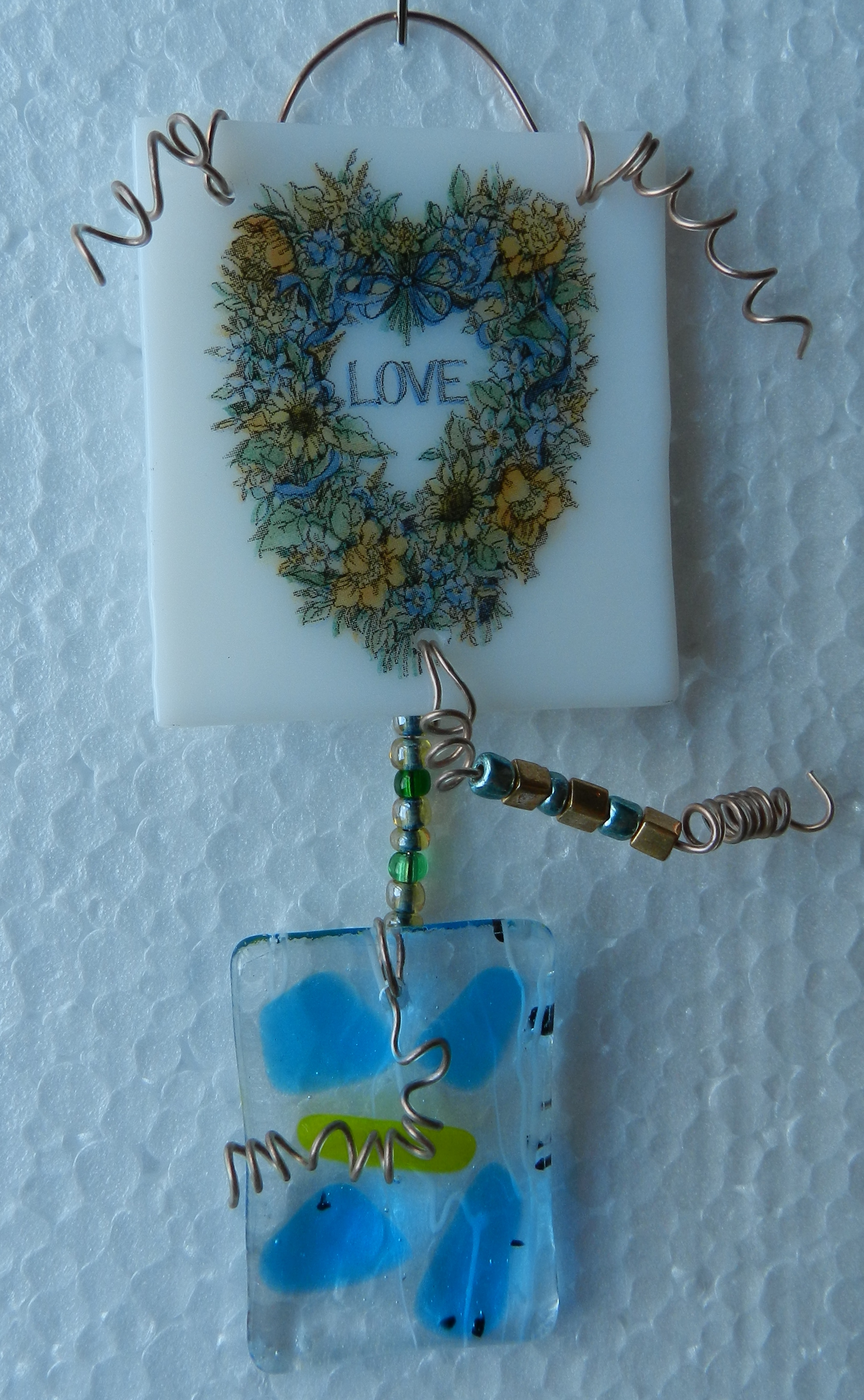 handcrafted recycled glass suncatcher made in the USA