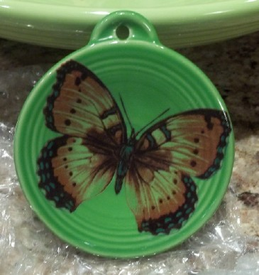 butterfly fired on green pottery ornament and made in the USA